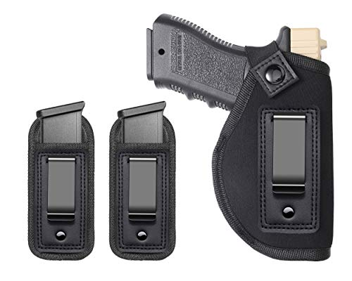 Runda Concealed Carry Holster, Universal IWB Holster   Inside The Waistband   Fits All Firearms S&W M&P Shield G17 19 23 25 26 27 29 30 32 33 38 42 43 Springfield XD X   with Extra Magazine Pouch
