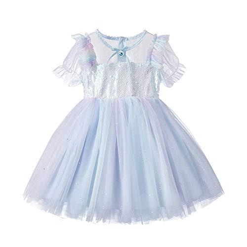 YWLINK Vestido De NiñA De Verano Vestido De Princesa Vestido De Princesa De Arco Iris Colorido Princesa NiñA Fiesta De Tul Tutu con Encaje De Flor Sin Mangas Princesa