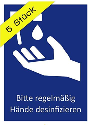 5 Aufkleber Bitte regelmäßig Hände desinfizieren Hinweis Schild zur Händedesinfektion und Handhygiene DIN A6 (10,5 x 14,8 cm) (Händedesinfektion)