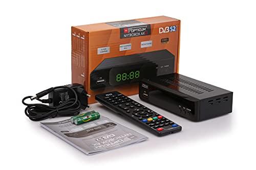 RED OPTICUM NYTROBOX AX S1 Sat Receiver mit Aufnahmefunktion I Digitaler Satelliten-Receiver HD 1080p - HDMI - SCART - USB - Coaxial Audio I 12V Netzteil ideal für Camping I DVB-S2 Receiver Schwarz