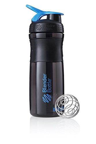 BlenderBottle Sportmixer Tritan Trinkflasche mit BlenderBall, geeignet als Protein Shaker, Eiweißshaker, Wasserflasche oder für Fitness Shakes, BPA frei, skaliert bis 760 ml, 820 ml, cyan / schwarz