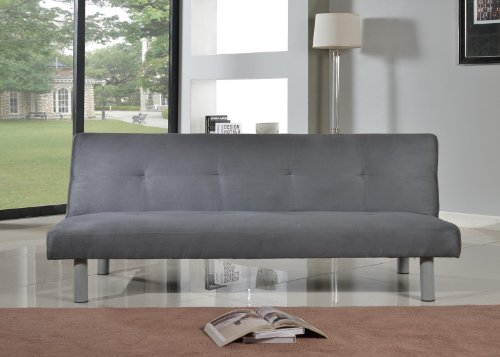 Comfy Living Faux Suede 3 Seater Quality Sofa Bed - Click Clac fabric sofabed in GREY