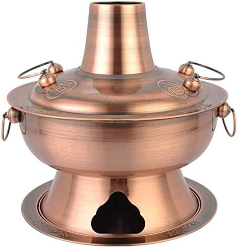 XIAOWANG Chinesische Traditionelle Holzkohle Kupfer Hot Pot - dick Material, mit hoher Kapazität Shabu-Pot Partition Entwurf, Auflauf Suppe Kchenherd Shabu Geeignet für Festive Parteien