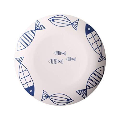 lqgpsx Teller Teller Geschirr China Servierteller für Salat Pasta Gerichte Spiegelei Snack Broiler Wing Pattern