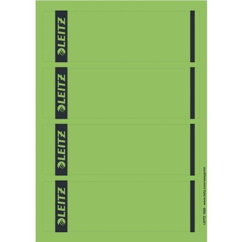 Leitz PC-beschriftbare Rückenschilder selbstklebend für Standard- und Hartpappe-Ordner, 100 Stück, Kurzes und breites Format, 62 x 192 mm, Papier, grün, 16852055