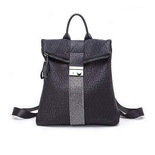 JOSEKO Mode Rucksäcke Damen, Frauen Stilvolle Tagesrucksack PU Leder Tote Handtasche Vintage Schultertasche Casual Daypack für Schule Reise Arbeit(Schwarz#02)