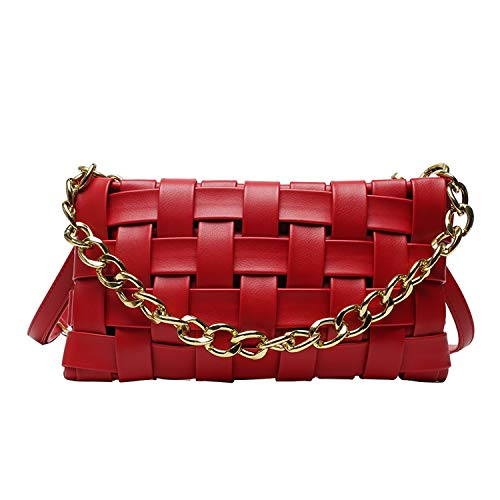 Chain Shoulder Bag For Women Pu Leather Woven Bag Solid Color All-Match Crossbody Bag-Red-27x6x14cm