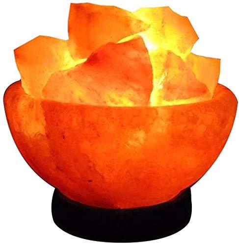 LAMARE Sale Dell'himalaya Fuoco Cestino con Himalayano Sale Satural IONES Terapeutico 100% Puro Cristalli Di Sale Himalayano Lampadina buona qualità su Base In Legno
