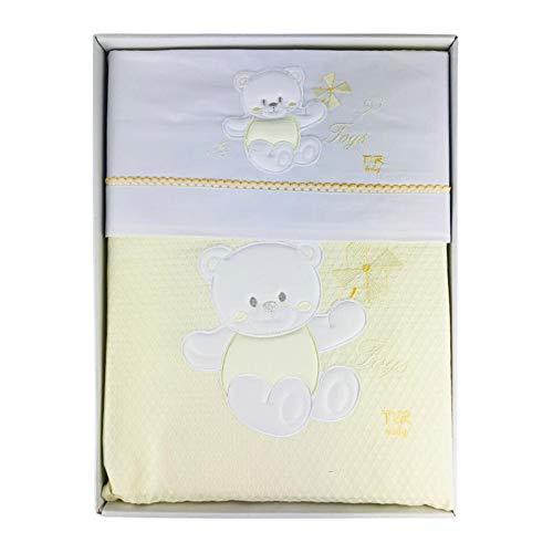Nada Home 2911 Parure de lit 4 pièces en coton brodé avec couverture Lettino jaune