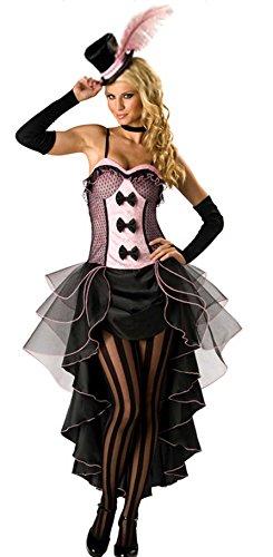 Forever Young, costume da ragazza, stile can can, burlesque, Moulin Rouge, colore rosa, vestito + cappello e guanti, taglia 38