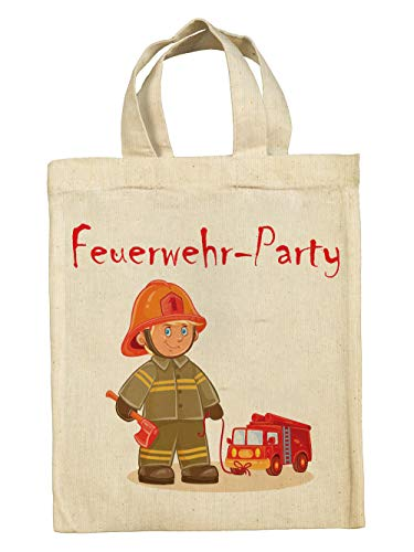 clothinx Lustige Kindergeburtstag Tasche Mitgebsel-Beutel im Set mit Geburtstag-Motto Feuerwehr 5er Pack