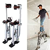 Adjustable 61-100cm (24-40in) Aluminium Drywall Stilts, Drywall Plastering Stilts,for Builder Decorator Painting Plastering, Paint Painter Tool,Non-Slip and High Stability,Silver