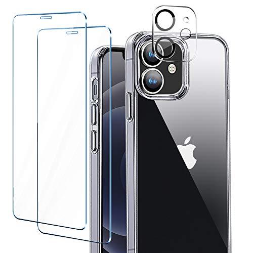 """ivencase Funda Compatible con iPhone 12 Mini (5.4""""), 2 Pack Cristal Templado y 1 Pack Protector de Lente de Cámara - Transparente"""