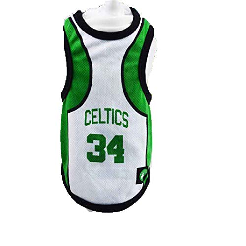 Dog Vest Basketball Jersey Cool Breathable Pet Cat Clothes Puppy Sportswear Spring/Summer Fashion Cotton Dog Shirt (Celtics, 3XL (22-33) lb)
