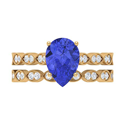 2.51 CT Tanzanite Solitaire Ring, D-VSSI Moissanite Bridal Ring Set, 7X10 MM Pear Shaped Engagement Ring, Gold Side Stone Ring, 18K Yellow Gold, Size:UK V