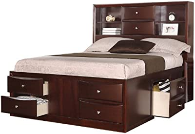 Poundex PDEX-F9234Q Queen Bed with Two Centered Stacked Drawers in Espresso, Brown