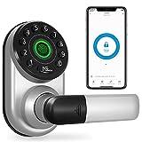Smart Lock, NGTeco Fingerprint Keypad Door Lock with Handle, Keyless Entry Door Lock with Bluetooth, Biometric Fingerprint and Passcode, Smart Door Lock Front Door Works with Alexa Google Assistant