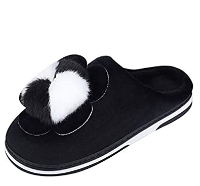 Dekkin Women's Flower Winter Home Indoor Fur Slipper/Flip Flops