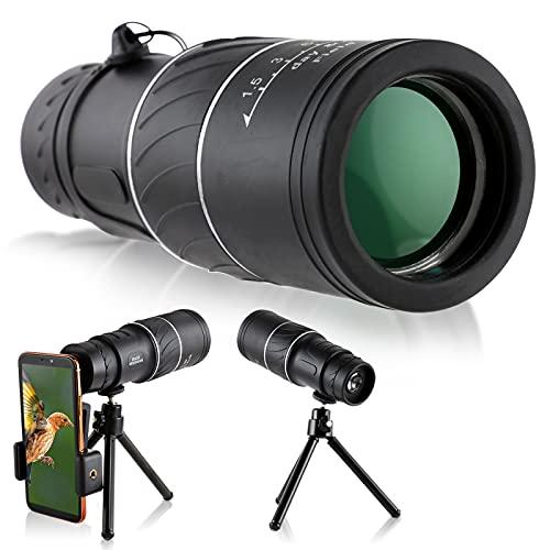16x52 Monokular Teleskop Dyna-Living Verbessertes HD BAK4 Monokular Fernrohr mit Smartphone-Halter und Stativ für Gelände- und Wildbeobachtung/Vogelbeobachtung/Besichtigung Tag- und Nachtsicht