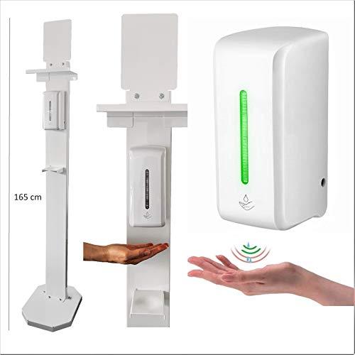 Columna con dispensador automático de gel desinfectante por infrarrojos, capacidad de 850 ml con tres modos de suministro: ahorro de gel