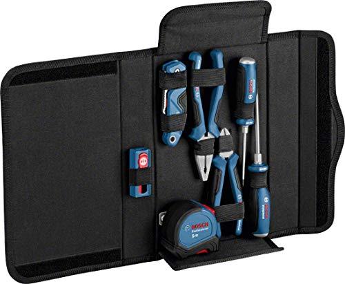 Bosch Professional- Set de herramientas de mano 16 pzs (destornilladores, alicates, cúter, cinta métrica, en estuche)