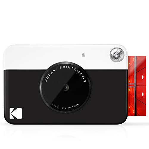 Kodak Printomatic - Cámara de impresión instantánea, imprime en Papel Zink 5 x 7.6 cm con respaldo adhesivo, negro