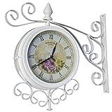 Charles Bentley Reloj Doble Cara Jardín Al Aire Libre Soporte de Pared en Crema Metal - Diseño Floral - Vintage - 37 Cm