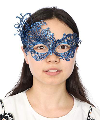 Lace Masquerade Ball Mask Venetian Swan Mardi Gras Halloween Costume Party Mask (A Royal Blue Swan)