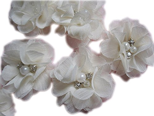 YYCRAFT Pack Of 20 Pieces Chiffon 2' Flower Rhinestone Pearl for craft projects-Ivory