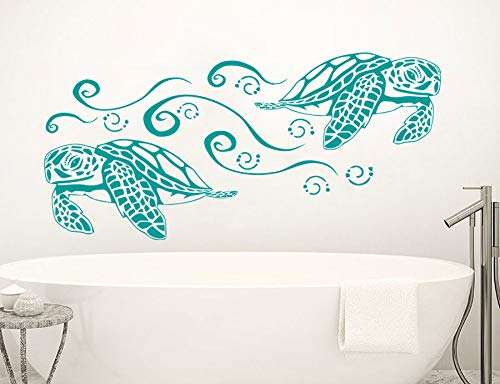 Dibujos animados Natación Tortuga Tortuga Océano Peces Mar Animal Fauna Vinilo Etiqueta de la pared Calcomanía Niños Guardería Dormitorio Sala de estar Baño Sala de juegos Decoración para el