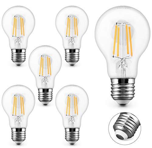KYOTECH lot de 6 ampoules Filament LED E27 Blanc Chaud 2700K 4W 400LM équivaut ampoule halogène 40W Ampoule Basse Consommation A60 Ampoule Edison Vintage