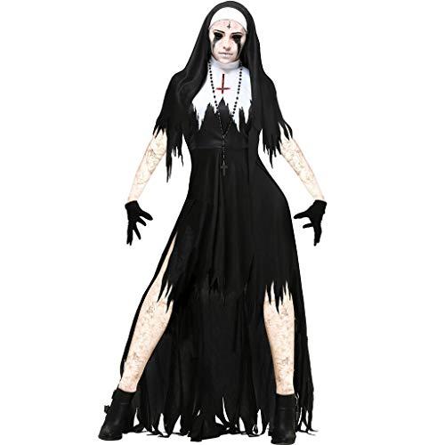 E/A Disfraz tnico para Mujer Disfraz De Festival De Halloween Disfraz De Monja Negra De Talla nica para Adultos Disfraz De Cosplay Fiesta Disfraz De Sacerdote De La Virgen Mara(Size:Extragrande)