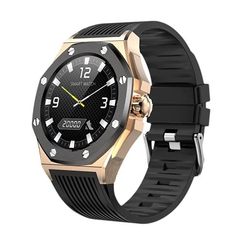 KOPOU Smart Watch 2021, Luxus-Armbanduhr, Fitnessband, Android iOS Smartwatch, lange Akkulaufzeit, Schwarzes Zifferblatt, goldfarbener Rahmen, schwarzes Armband, M,