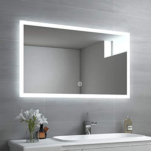 EMKE LED Badspiegel 100x60cm Badspiegel mit Beleuchtung kaltweiß Lichtspiegel Badezimmerspiegel Wandspiegel mit Touchschalter IP44 energiesparend