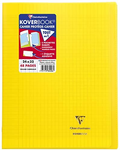 Clairefontaine 984406C Un Cahier Agrafé Koverbook Jaune - 24x32 cm - 48 Pages Grands Carreaux - Papier Blanc 90 g - Couverture Polypro