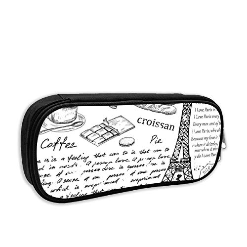 Büro Schreibwaren Aufbewahrungstasche Kosmetiktasche Bleistiftetui - Traditionelle berühmte Pariser Bonjour Croissan Kaffee Eiffelturm Druck