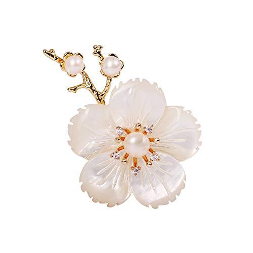 淡水真珠ブローチ彫りの貝殼の桜のコサージュ高級感のダイモンド胸飾り花アクセサリーギフトBOX付き