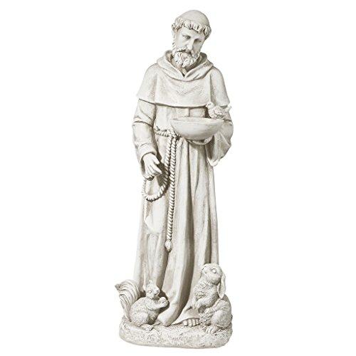 Nature's Nurturer, St. Francis Religious Garden Decor Statue Bird Feeder, Medium 28 Inch, Antique Stone - Design Toscano LY815059