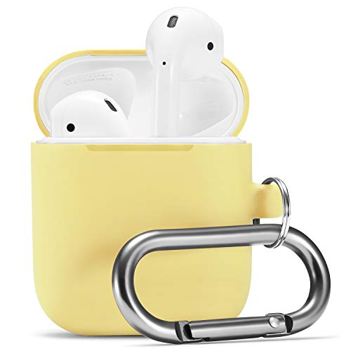 Airpods Case, Airpod Silicone Skin Cases Cover by Camyse, Full Protective Durable Shockproof Drop Proof with Keychain Compatible with Apple Airpods 2 & 1 Charging Case,Airpods Accesssories (Yellow)