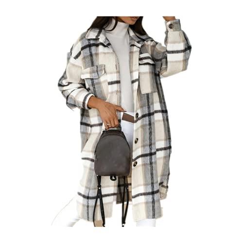 Invierno De Las Mujeres A Cuadros Chaqueta Casual De Gran Tamaño Gire Abajo Cuello Largo Abrigo Mujer