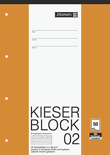 Brunnen 1042942 KIESER-Block Lineatur 2 (A4, 50 Blatt, Gelocht, 80g/m², Klasse 2) - 3er Pack
