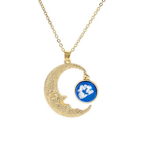 N/A Collar Luna Viejo Hombre Cielo Azul Nube Blanca Resina Colgante Collar Luna Helada Weng Redondo Transparente Cielo Nubes Regalo del Día De San Valentín Regalo del Día De La Madre