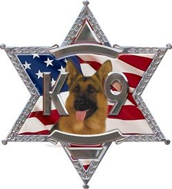 K9 6 Point Star Police Dog Decal With Shepherd - 4' h - REFLECTIVE