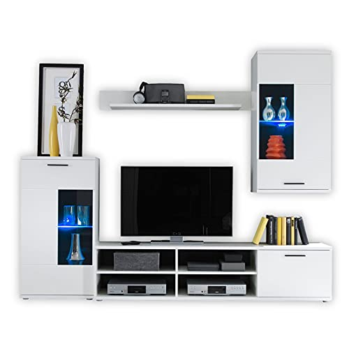 Stella Trading FRONTAL Wohnwand Komplett-Set in Weiß matt - Moderne Schrankwand mit blauer LED-Beleuchtung für Ihr Wohnzimmer - 230 x 185 x 38 cm (B/H/T)