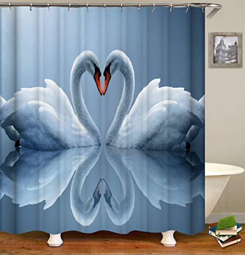 Ich Liebe Den Weißen Schwan. Duschvorhang. 180 X 180 cm. 12 C-Förmige Haken. Einfach Zu Säubern. Wasserdicht. Nicht Verblassen. Haus Dekoration.