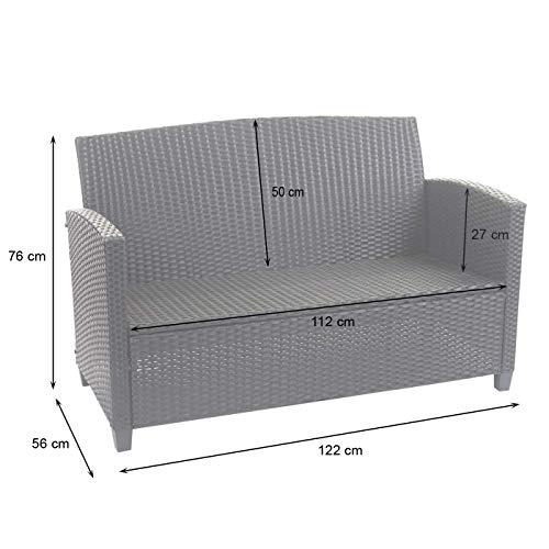 Mendler XXL Poly-Rattan Garnitur HWC-F10, Balkon-/Garten-/Lounge-Set Sitzgruppe, Sofa Sessel mit Kissen Spun Poly - anthrazit - 6