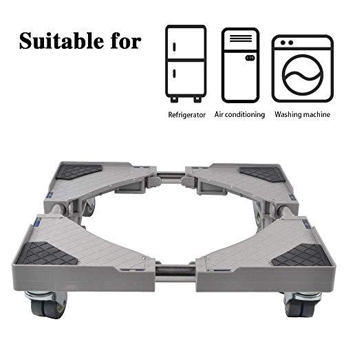 JYKJ Afneembare multifunctionele koelkastsokkel, verstelbare sokkel met 4 vaststelbare, draaibare rubberen wielen, instelbare universele mobieltrolley voor droger, wasmachine en koelkast