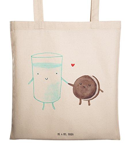 Mr. & Mrs. Panda Beutel, Baumwolltasche, Tragetasche Milch & Keks - Farbe Transparent