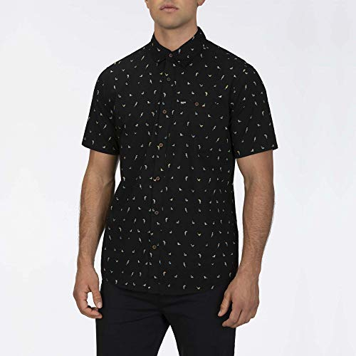 Hurley M Birds Stretch S/S Camisa, Hombre, Black, L
