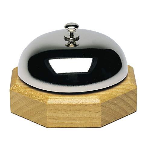 Westmark Clochette de Table/ Cloche de Réception, ø 9,1 cm, Sonorité claire, bois/acier (chromé brillant), argenté/marron clair, 63202230